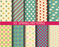 Spring patterns. 10 different spring patterns, Pattern Swatches, vector, Endless texture can be used for wallpaper, pattern fills, web page,background,surface Vector Illustration