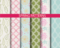 Spring patterns. 6 different  spring patterns,  Pattern Swatches, vector, Endless texture can be used for wallpaper, pattern fills, web page,background,surface Royalty Free Stock Photography