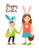 Spring people in easter costumes Royalty Free Stock Images
