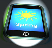Spring On Phone Displays Springtime Season Stock Photos