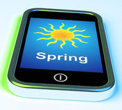 Spring On Phone Means Springtime Season Stock Images