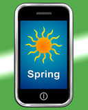 Spring On Phone Means Springtime Season Royalty Free Stock Photo