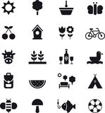 Spring and picnic icons. Set of black and white icons relating to spring and picnics Stock Photos