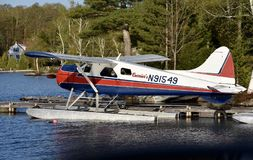 Sea Plane. This is a Spring picture of a 1954 de Havilland Beaver Sea Plane located on Moosehead Lake in Greenville, Maine.  This picture was taken on May 18 Stock Photos