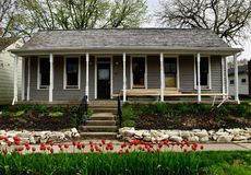 Ten Hagen Cottage. This is a Spring picture of the historic Ten Hagen Cottage located in Pella, Iowa in Marion County.  This single-story cottage built in Royalty Free Stock Photos