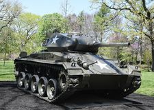 "M 24 Chaffee. This is a Spring picture of a M 24 Chaffee on exhibit at the ""Tank Park"" at Cantigny Park located in Wheaton, Illinois in DuPage County stock images"