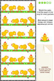 Spring picture puzzle with cute little chicks Stock Photography