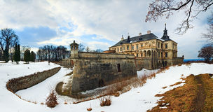 Spring Pidhirtsi Castle panorama view (Ukraine) Stock Photos