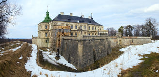 Spring Pidhirtsi Castle panorama view (Ukraine) Royalty Free Stock Image