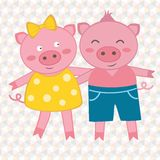 Spring pigs. Illustration of spring pigs couple on geometrical background Stock Photography