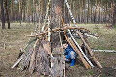 In the spring in a pine forest, the boy built a hut of sticks. Stock Photography