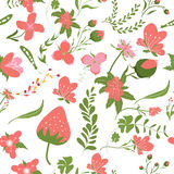 Spring pink flowers backgrounds - seamless floral pattern Royalty Free Stock Photo