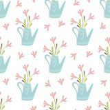 Spring pink flowers bouquet in jug floral seamless pattern Spring garden vector nature illustration. Spring pink flowers bouquet in light blue jug Hand drawn royalty free illustration