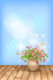 Spring pink flowers butterfly on sky background Royalty Free Stock Images