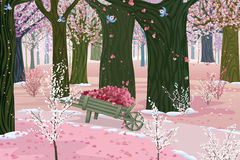 Spring pink forest Stock Photography