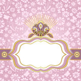 Spring pink-gold easter frame Stock Photos