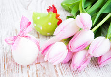 Pink tulips and easter egg Royalty Free Stock Photography