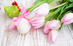 Pink tulips and easter egg Stock Photos