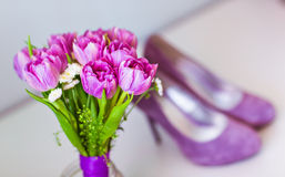 Spring pink tulips with purple women's shoes Royalty Free Stock Image