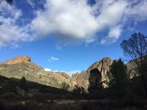 Pinnacles national park high peaks or balconies with clouds and trees royalty free stock photos
