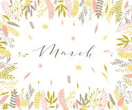 Spring plant frame. Plant frame composition with calligraphic word Plant frame composition with calligraphic word March. Spring frame background with branches Royalty Free Stock Photography