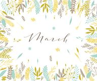 Spring plant frame. Plant frame composition with calligraphic word Plant frame composition with calligraphic word March. Spring frame background with branches Royalty Free Stock Photos