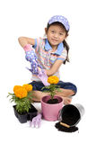 Spring Planting. A young Asian girl plants a Marigold in a pot Stock Photography