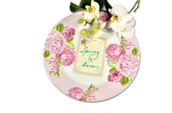 Spring plate with orchids Stock Image