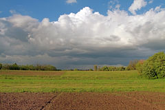 Spring plowed field on a background of green grass and green tre. Es. Low sky with rain clouds Stock Image