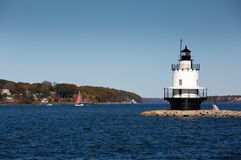 Spring Point Ledge Lighthouse Maine. Spring Point Ledge Lighthouse is located in South Portland, Maine Stock Photography