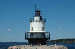 Spring Point Ledge Lighthouse, Portland, ME. On a clear sunny day royalty free stock images