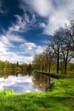 Spring pond view. With blue sky Royalty Free Stock Image