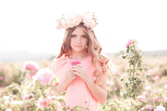Spring porrait of teenage girl in garden royalty free stock photos