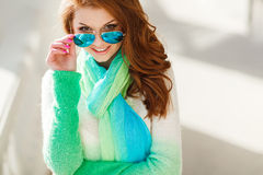 Spring portrait of a beautiful woman in the city. Stock Photography