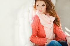 Spring portrait of a beautiful woman in the city. Royalty Free Stock Photos