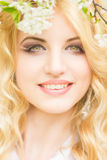 Spring portrait of a beautiful young blonde. Woman Stock Photography