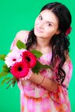 Spring portrait of a beautiful young brunette Royalty Free Stock Photo