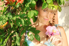 Spring portrait of a beautiful young woman Stock Photos