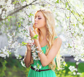 Spring portrait of a beautiful young woman enjoying smell petals Stock Image