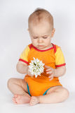 Spring portrait boy with bouquet of flowers. Child with white snowdrops. studio portrait. Royalty Free Stock Photos