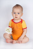 Spring portrait boy with bouquet of flowers. Child with white snowdrops. studio portrait. Stock Images