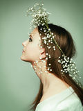 Spring portrait  girl with wreath of flowers Royalty Free Stock Photos