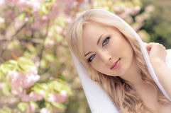 Spring portrait with kerchief Royalty Free Stock Image