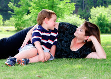 Spring portrait of mother and son. On Mother's Day Stock Photo