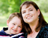 Spring portrait of mother and son. On Mother's Day Royalty Free Stock Photography