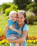 Spring portrait of mother and son on Mother's Day Royalty Free Stock Images