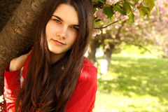 Spring portrait teen girl near Japanese cherry tree Royalty Free Stock Images