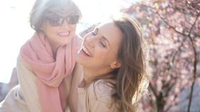 Spring portrait of two women on a background of a blossoming magnolia. Mother`s Day, International Women`s Day stock video