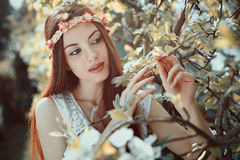 Spring portrait of a young woman Stock Photo