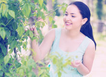 Spring positive smiling young female portrait in garden Royalty Free Stock Photos